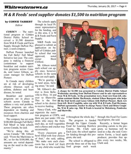 Whitewater News Article - Cobden Public School Donation