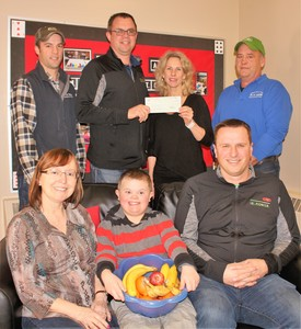Cobden Public School Donation   M&R Feeds (Micksburg, Pembroke, Shawville) and Dupont Pioneer presented a cheque for $1,500 to Cobden Public School to support their nutrition program. In the photo are (back): Brent Couglin (M&R Feeds), Paul Hermans (DuPont), Nancy Clark (Cobden PS teacher) and  Brian Coughlin (M&R Feeds). In the front: Robin MacKenzie and Ethan Bourgeois (Cobden PS) and Lance Gibson (DuPont)>